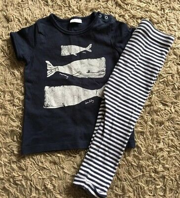 Next Boys Or Girls Navy Stripe Outfit. Age 12-18 Months. Leggings And T-shirt.