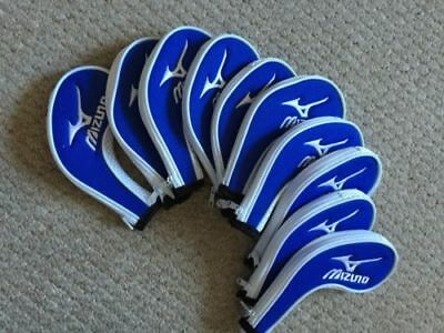 10PCS Blue&White Mizuno Embroidered Golf Club Iron Covers HeadCovers Zipper