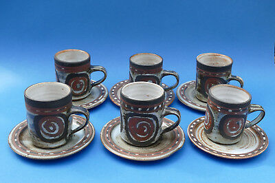 BRIGLIN POTTERY - Studio Pottery - 6 Coffee CUP & SAUCER - Impressed marks