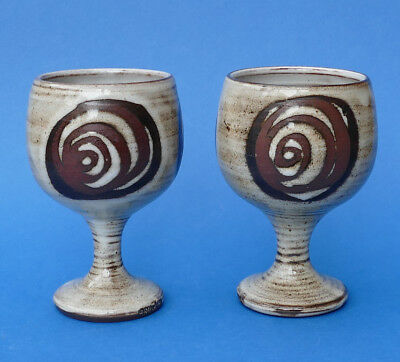 BRIGLIN POTTERY - Studio Pottery - PAIR of GOBLETS - Impressed marks