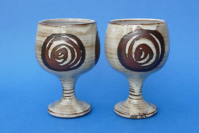 BRIGLIN POTTERY - Studio Pottery - PAIR of GOBLETS - Impressed marks - #2