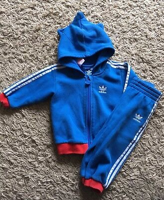 Baby Boys Adidas Tracksuit Size 12 Months. Blue, White And Red.