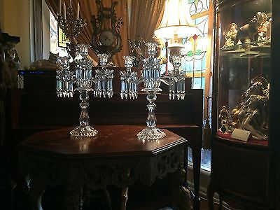Beautiful Pair Baccarat 3 Light Medallion Candelabras