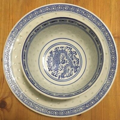 "Vintage Chinese Rice Grain Blue And White Dragon 8"" Plate and 5"" Rice Soup Bowl"