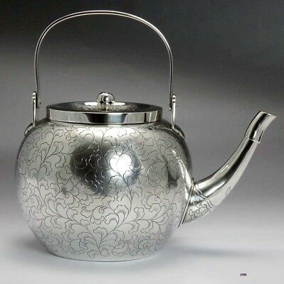 Superb Chinese / Japanese Silver Meiji Teapot w Rare Capped Spout