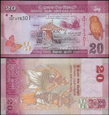 SRI LANKA 🇱🇰 20 Rupees Banknote, 2015, P-123, UNC World Currency