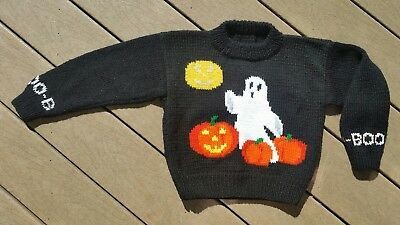 Childs Hand Knitted Halloween Sweater Size 5-7 Ghost Pumpkin Boo