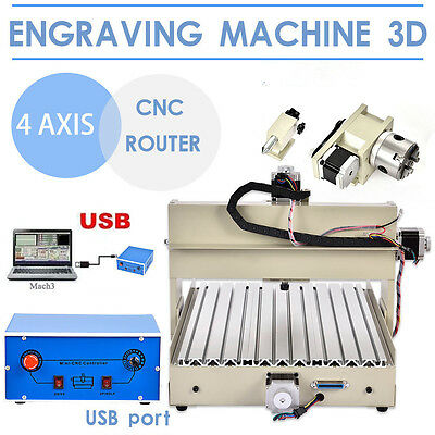 Profil Usb Cnc Router Engraver Engraving Cutting 4 Axis 3040T 3D Artwork Cutter