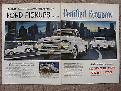 1960 Ford 4X4 Pickup  & Regular Pickup Large 2 Page Color Ad Free Shipping