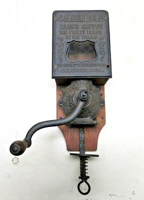 Antique Advertising Wall Mount Coffee Grinder Mill Golden Rule Columbus, Ohio