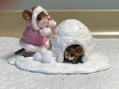 Wee Forest Folk Girl in Pink with Mouse in Igloo