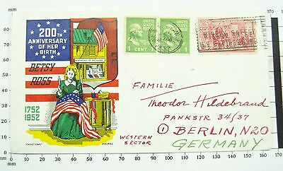 1952 Airmail FDC to Germany celebrating 200th Anniversary of Betsy Ross Birthday