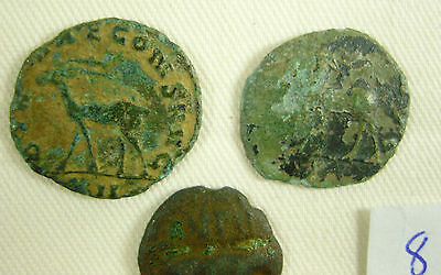 Three Original Ancient Roman Coins - ID 8 (Antelope on two?)