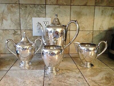 F B Rogers 400 PLAIN 4 Piece Tea or Coffee Set  Sterling Silver  over 1200GR