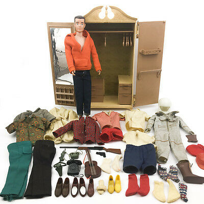 1963 Susy Goose Armoire Wardrobe with 1962 Ken Doll Clothing Accessories Vintage