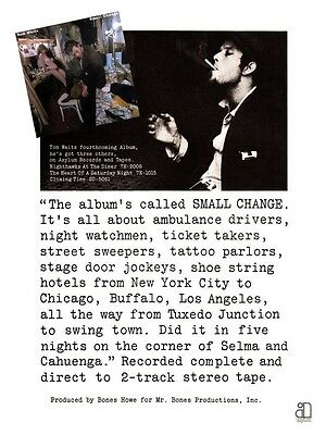 Tom Waits POSTER Small Change **VERY LARGE** Promo Ad  - Sexy Naked Elvira?