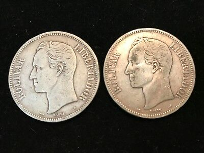 T2: World Coins Venezuela 5 Bolivares 1910 and 1911 Free Shipping in U.S.