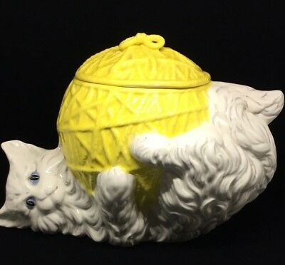 Vintage Cookie Jar White Kitten/Cat Yellow Yarn Ball Pet Treat Biscuit Glenview