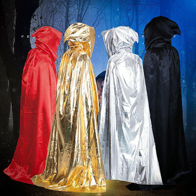 Halloween Long Cloak Cape Hooded Robe Vampire Wedding Witch Wicca Adult Costumes