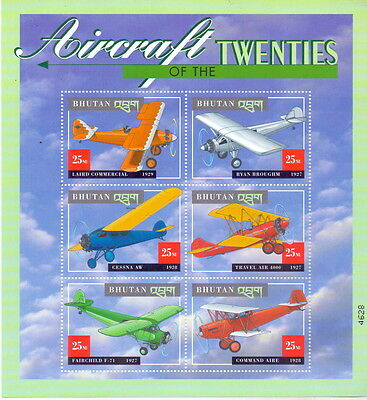 Bhutan Miniature Aircraft - Aviation mnh.