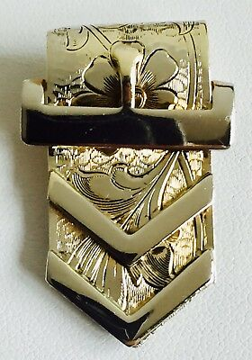 Antique Victorian Engraved Silver Plate Dress Buckle Scarf Dress Shoe Clip Pin