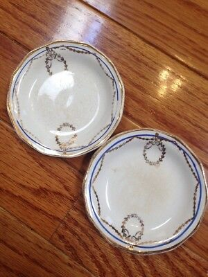 """2 Antique China Butter Pats ~ Gold Gold Swag & Wreath With Blue Stripe 3.5"""""""
