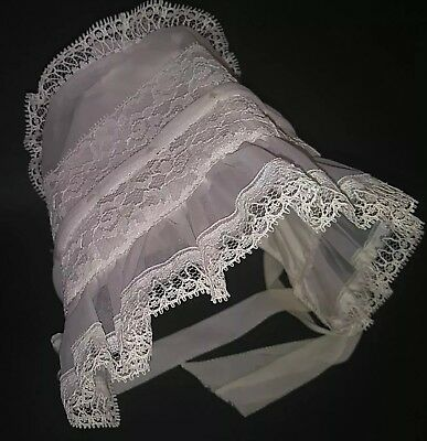Antique Vintage Infant Baby Girl or Doll Bonnet White Lace Ruffles Satin Ties
