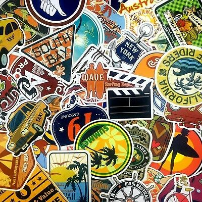 Lot of 40 Retro Summer Travel Tourist Stickers - Luggage California Surfing DIY