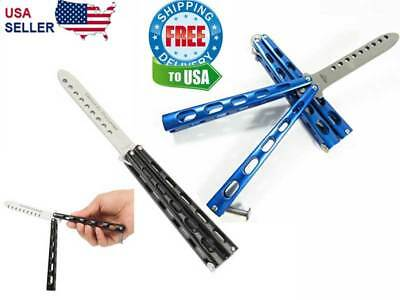 Butterfly Balisong Trainer Knife Training Dull Tool Metal Practice BLUE or BLACK