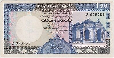 (N8-94) 1982 Ceylon 50 Rupees Bank note (A)