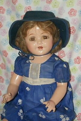 "SO PRETTY!! Vintage LARGE 26"" Nannette Mama Composition Doll With Cloth Body"