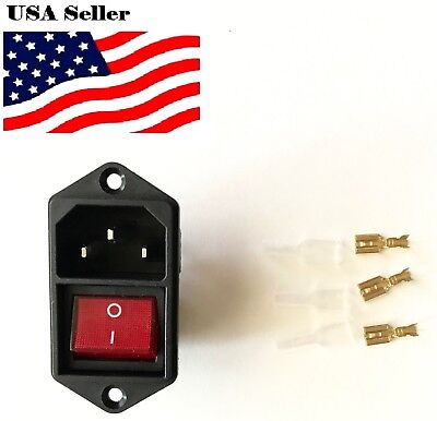1Pcs IEC320 C14 AC Power Cord Inlet Socket With Rocker Switch110V 15A SR1G+spade
