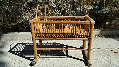 "36""Large Vintage Wooden Rocking Cradle Baby Crib With Canopy NICE !!"