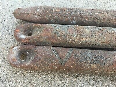 3 Old Cast iron window sash weights 5 pounds each.   Vintage