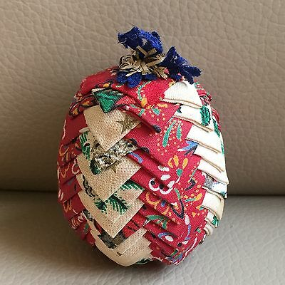 Vintage Retro Mid Century French Red Cream Patchwork Pineapple Pin Cushion