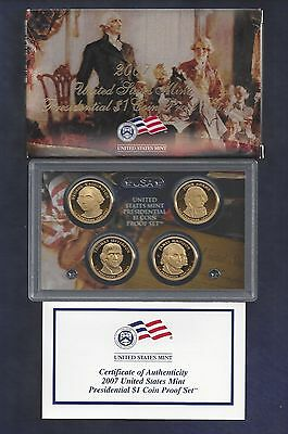 2007-S U.s. Mint Presidential Dollar Coin Proof Set...4 Coins...box...coa
