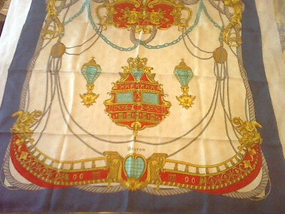 Vintage Bayron large silk scarf red white blue gold