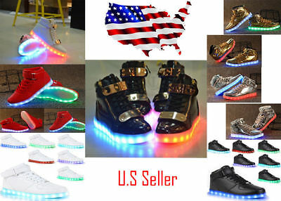 High Top LED Light Lace Up Shoes - Unisex Sportswear Sneaker Led Dance Shoes