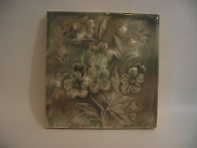 Antique Ceramic Fireplace Tile Green with Relief Flowers