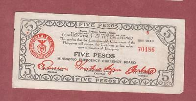 1944 Philippines 5 pesos- Mindanao Emergency Currency board issued  525b