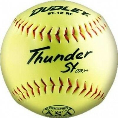 Dudley USSSA Thunder SY FP Yellow Synthetic Cover, Blue Stitch. Spalding