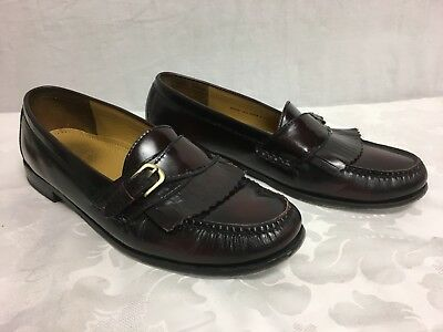 Cole Haan Men's Dark Brown Maroon Slip On Leather Dress Shoes Loafers, Size 12 D