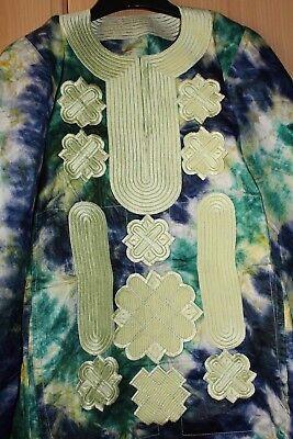 New Unique West African fully embroidered Danshiki tye & dye~Unisex Top!