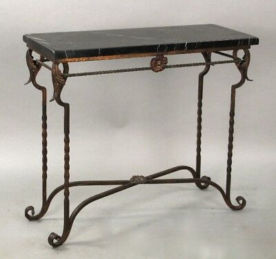 Antique Spanish Revival 1920's Wrought Iron and Marble Top Side Table (10654)