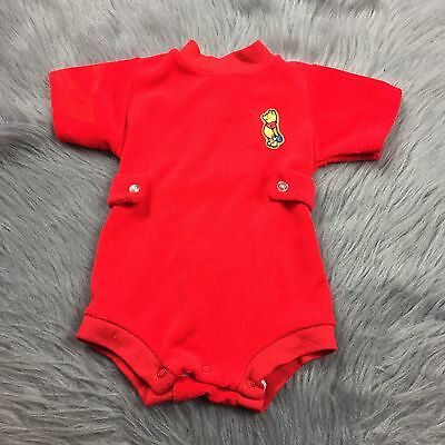 Vintage Sears Winnie The Pooh Red Terry Cloth Romper Sz Small Baby