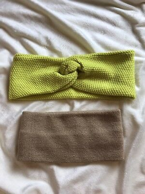 Lot of 2 Women's Winter Head Warmers, Beige, Highlighter Yellow, Pre-Owned
