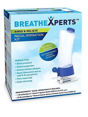 BreatheXperts Nasal Irrigation Kit-Irrigation Bottle + 20 Saline Mixture Packets