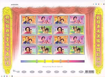 "Hong Kong, 2001, ""hong Kong Movie Stars"" Full Sheet Mint Nh Fresh"
