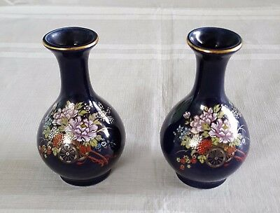 Kutani Porcelain Miniature Vase Set - Excellent Condition