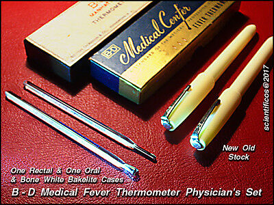 B - D ORAL & RECTAL CERTIFIED  FEVER  THERMOMETER  SET with original cases NOS